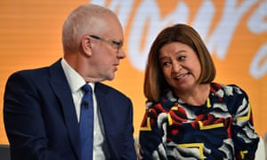 Justin Milne and Michelle Guthrie at the ABC annual public meeting in February