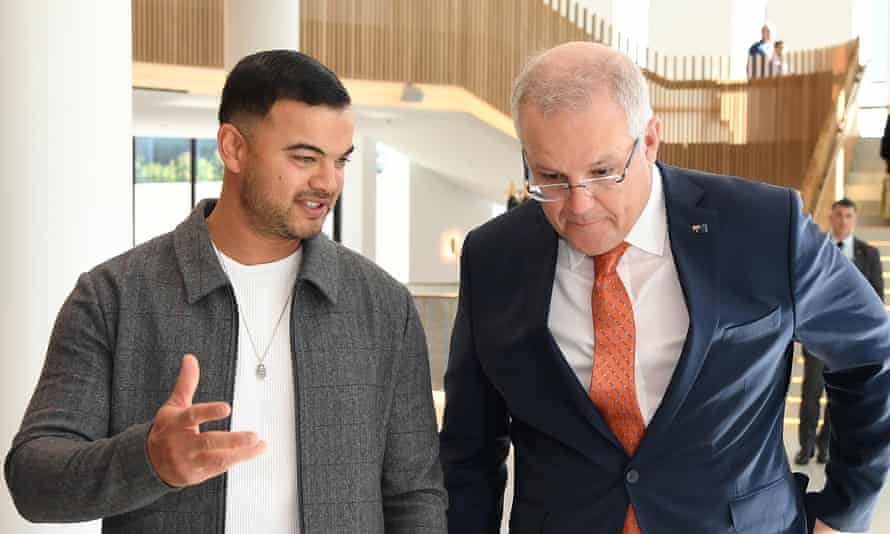 Australian Prime Minister Scott Morrison and singer Guy Sebastian at the art rescue package announcement in June 2020.