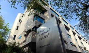 Outside the BUPA Cromwell Hospital in Kensington, London