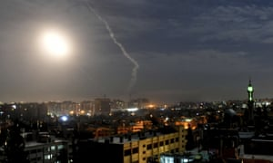 Missiles fly into the sky near Damascus international airport