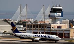 A Ryanair Boeing 737 plane taxis at Lisbon airport
