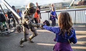 Astronaut street performer, Birmingham, UK.