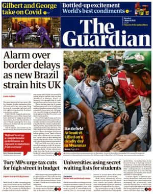 Guardian front page, Monday 1 March 2021