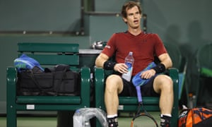 Andy Murray shows his dejection during his straight sets defeat by Vasek Pospisil of Canada in the Paribas Open this month.