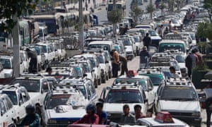 Taxis and buses wait for days to refuel at Bhadrakali, Kathmandu
