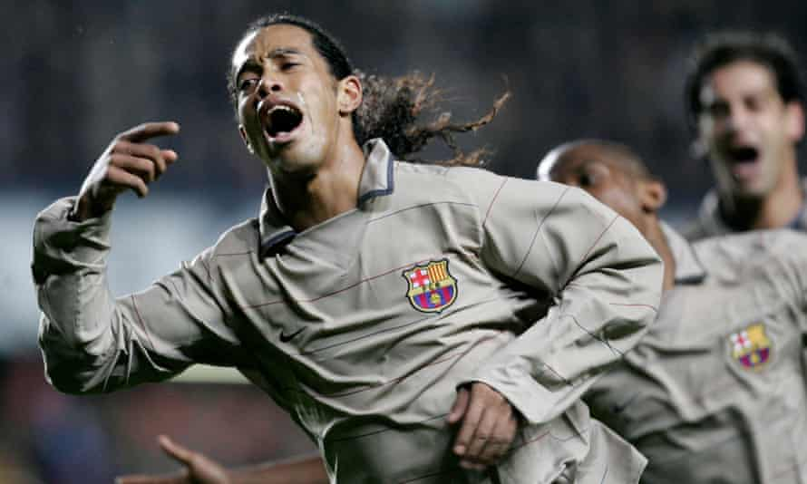 Ronaldinho celebrates his genius in fitting fashion.