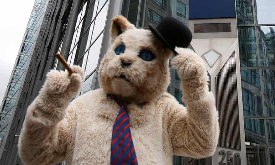 A protester wearing a 'fat cat' suit in London, 2012.