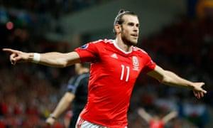 Gareth Bale celebrates scoring the third.