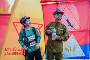 Jaime 'Ka Diego' Padilla (right), the spokesperson for the Melito Glor command, and Ka Kathryn (Comrade Kathryn)