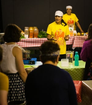 A cookery lesson at Slung Low's Cultural Community College