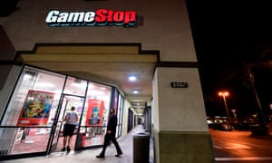 People enter a GameStop store in Alhambra, California on January 27, 2021.