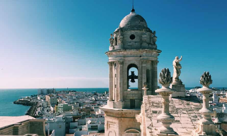 Aerial view of Cadiz and the tower of the Cathedral of Cadiz in Cadiz Andalusia, Spain in summer.