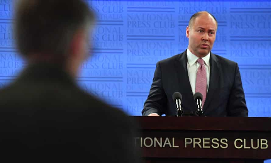 Treasurer Josh Frydenberg at the National Press Club in Canberra on Tuesday.