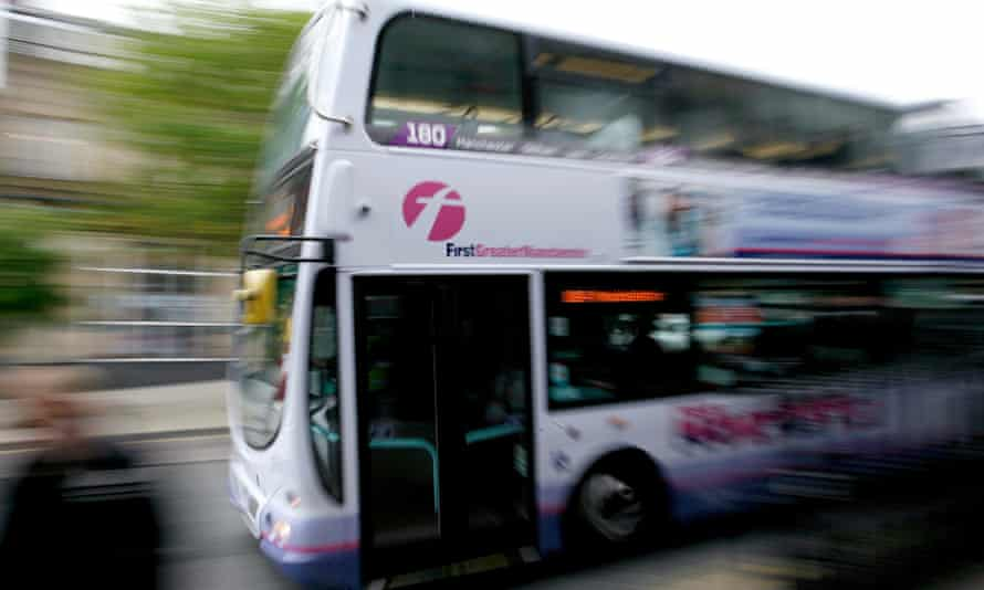 FirstGroup bus in Oldham, Greater Manchester.