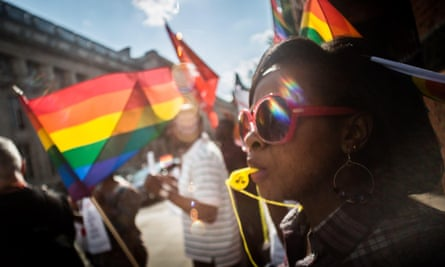 LGBT rights protesters in London.