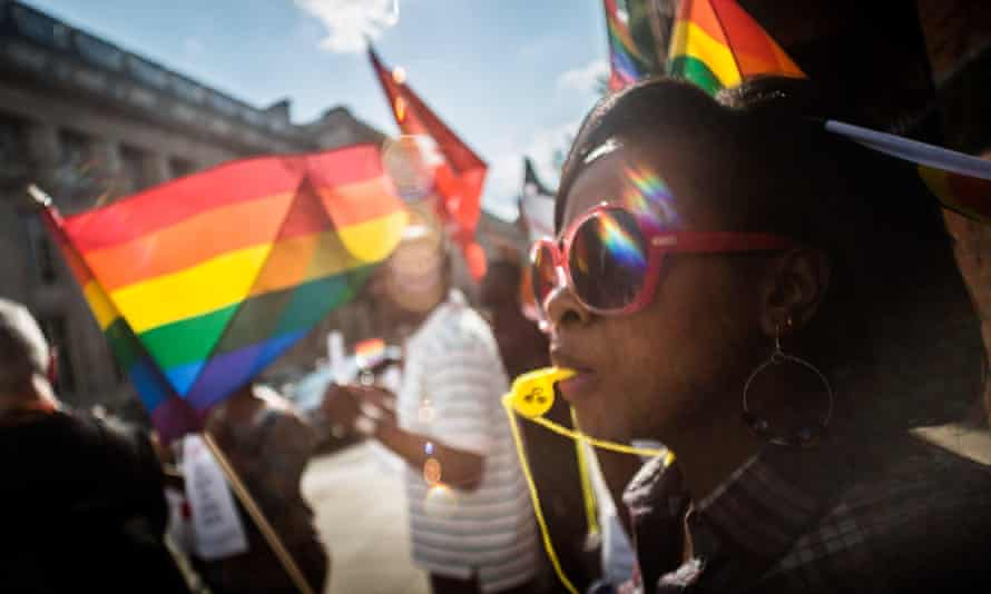 Protesters outside the Jamaican high commission in London call for the 'repeal of anti-gay laws in Jamaica