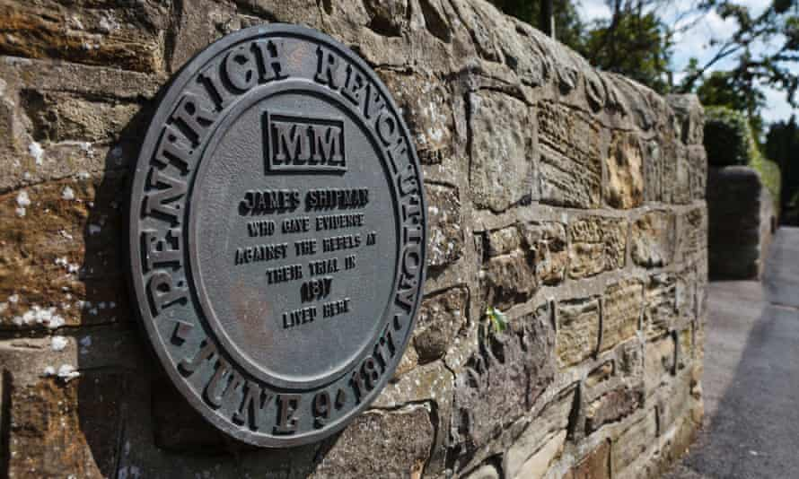 A plaque commemorating the Pentrich Revolution in Pentrich, Derbyshire