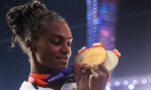 Dina Asher-Smith shows off her three medals