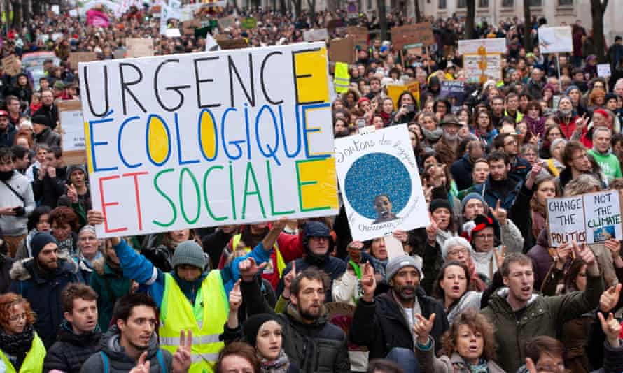 Participants in the March for Climate in Paris