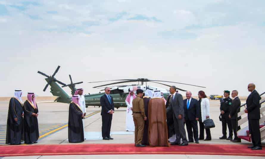 Obama lands in Riyadh in April last year. Trump wants to align with Saudi Arabia and the Gulf countries as a bulwark against Tehran.