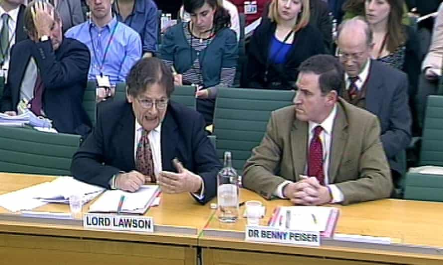 Lord Lawson (left) and Dr Benny Peiser, Director, Global Warming Policy Foundation appear before the Science and Technology Committee in Portcullis House, London.