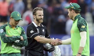 Kane Williamson shakes hands with David Miller after his century secured a narrow victory.