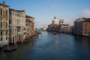 The Grand Canal is almost empty during the day on March 10, 2020 in Venice, Italy.