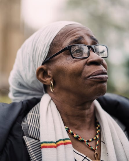 Paulette Wilson and other victims of the Windrush scandal ourtside of Parliament.