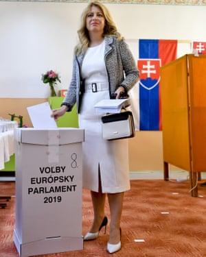 Slovakia's president-elect, Zuzana Čaputová, casts her ballot on Saturday