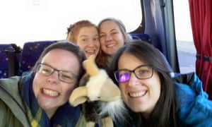 Ansel eat your heart out: Katie Forster (top right) and pals on board the coach.