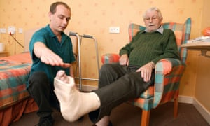 Patient with foot in plaster