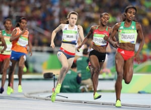 Muir in the final of the 2016 Rio Olympics, where she ran the third lap too hard and faded to finish seventh.