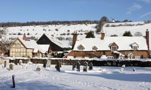 Cobstone Windmill above Turville village in snow, Chiltern Hills, Buckinghamshire,
