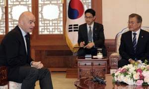 Gianni Infantino and Moon Jae-in.