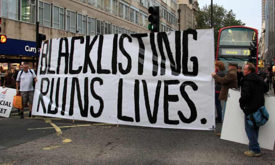 Unite members protest in London against blacklisting and sackings of union officials and members.