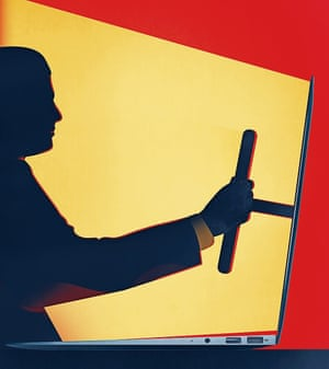 Illustration by Matt Murphy of man holding a steering wheel coming out of a laptop screen
