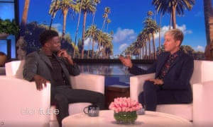 """'There are so many haters out there"""" … Ellen DeGeneres and Kevin Hart on her chatshow."""
