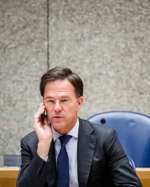 Mark Rutte during a debate in the House of Representatives in the Hague.