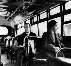 An undated photo of Rosa Parks riding on a bus in Montgomery, Alabama.<br>