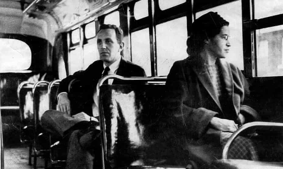 Rosa Parks riding on the Montgomery Area Transit System bus