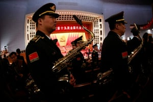 Chinese military band members rehearse before the opening ceremony of the congress