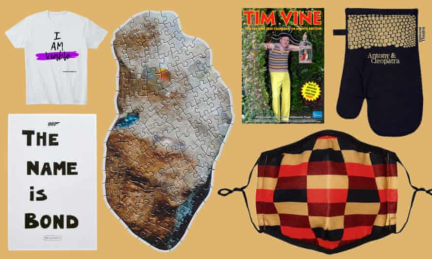 Clockwise: I Am Viable shirt; Uncut Gems jigsaw; Tim Vine calendar; Antony & Cleopatra oven glove; Transport for London mask; Bella Freud 007 tea towel