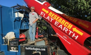 Mike Hughes with his steam-powered rocket constructed out of salvage parts