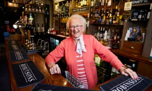 June Hallworth at the Davenport Arms in Stockport, where she has worked since 1957.