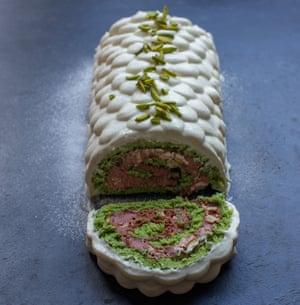 Dan Lepard's pistachio halva chocolate roulade.