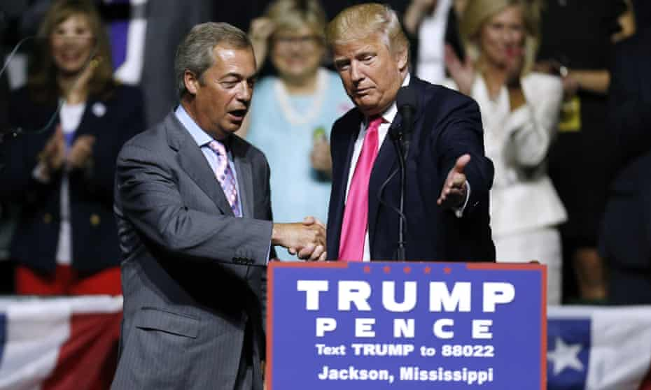 Nigel Farage campaigning with Donald Trump in 2016.