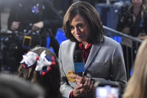 Kamala Harris in the spin room after the debate.