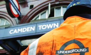 Tube workers from London Underground's emergency response unit outside Camden Town tube station