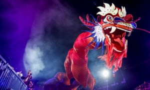 A 108-metre-long dragon float during the Chingay Parade in Singapore on Friday, part of lunar new year celebrations