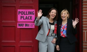 Scottish Labour leader Kezia Dugdale with local councillor Joan Griffiths (right) outside the polling station at Wilson Memorial Church in Edinburgh